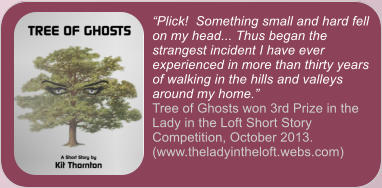 """Plick!  Something small and hard fell on my head... Thus began the strangest incident I have ever experienced in more than thirty years of walking in the hills and valleys around my home."" Tree of Ghosts won 3rd Prize in the Lady in the Loft Short Story Competition, October 2013. (www.theladyintheloft.webs.com)"